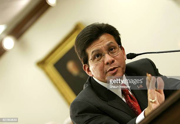 S Attorney General Alberto Gonzalez gestures during testimony before the House Appropriations Committee on Capitol Hill March 1 2005 in Washington DC...