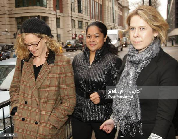 Attorney General Baroness Scotland's former cleaner Loloahi Tapu arrives with supporters at Westminster Magistrates Court on December 7, 2009 in...