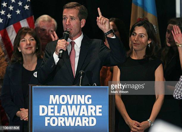 Attorney General Beau Biden celebrates his win with his wife Hallie Biden during a victory party for Democrats on November 2 2010 in Wilmington...
