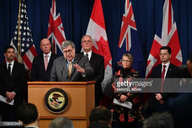 Attorney General Bill Barr announces measures against online sexual exploitation on March 5, 2020 during a press conference at the Department of...