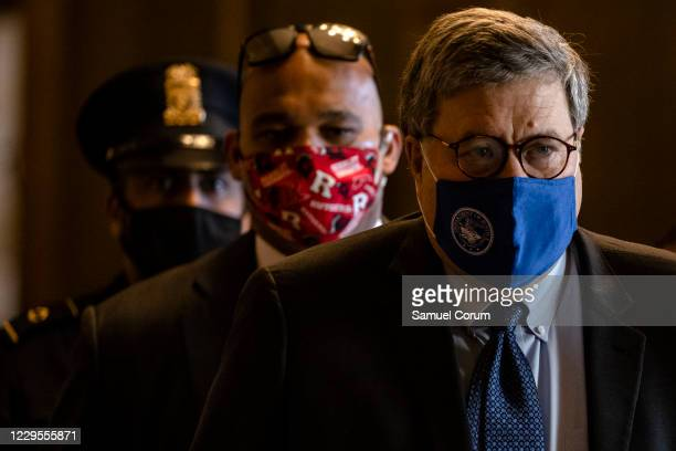 Attorney General Bill Barr leaves the US Capitol after meeting with Senate Majority Leader Mitch McConnell in his office on November 9, 2020 in...