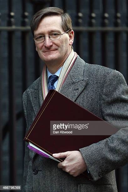 Attorney General Dominic Grieve arrives on Downing Street ahead of the weekly cabinet meeting on February 4 2014 in London England