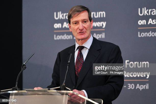 Attorney General Dominic Grieve gives his closing statement at the end of the Ukrainian Forum on Asset Recovery in London