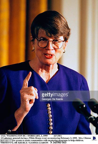Attorney general during a White House event on mentoring February 3, 1999 in Washington, DC. Mrs. Clinton announced new grants to assist communities...