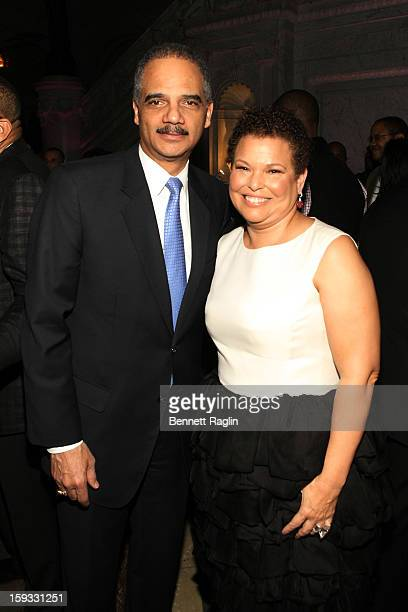 Attorney General Eric Holder and Debra Lee attend BET Honors 2013: Debra Lee Pre-Dinner at The Library of Congress on January 11, 2013 in Washington,...