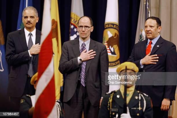 US Attorney General Eric Holder Assistant Attorney General for Civil Rights Thomas Perez and National Urban League CEO Marc Morial listen to the Star...