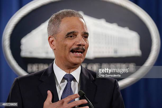 Attorney General Eric Holder delivers remarks about the Justice Department's findings related to two investigations in Ferguson Missouri at the...