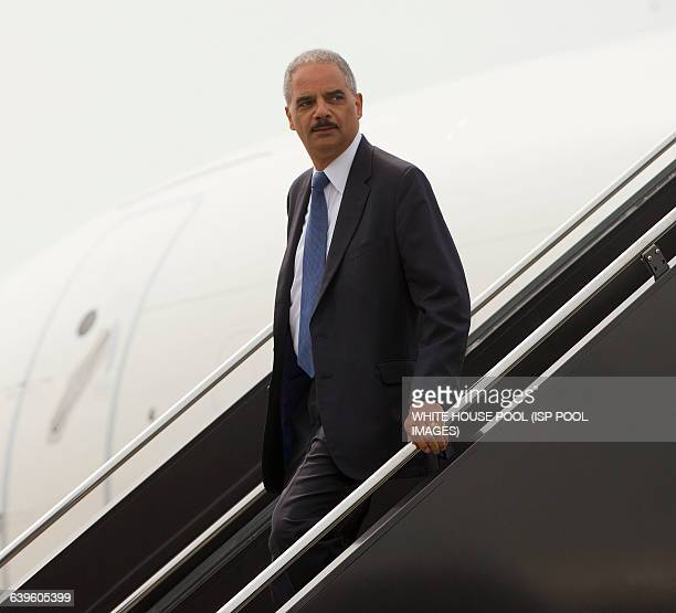Attorney General Eric Holder during his arrival on US Military aircraft to LambertSt Louis International Airport Wednesday Aug 20 in St Louis Mo...