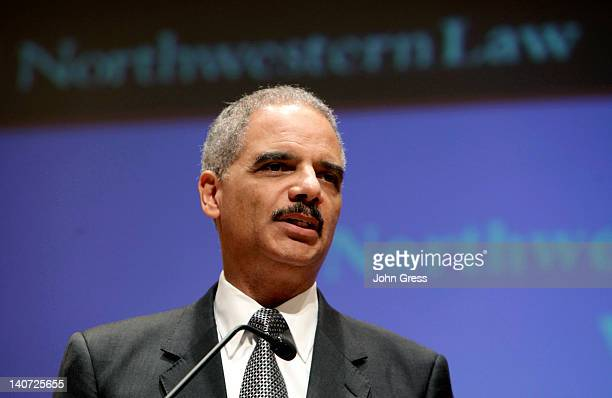 S Attorney General Eric Holder gives a speech at Northwestern Law School March 5 2012 in Chicago Illinois Holder was expected to discuss the legal...