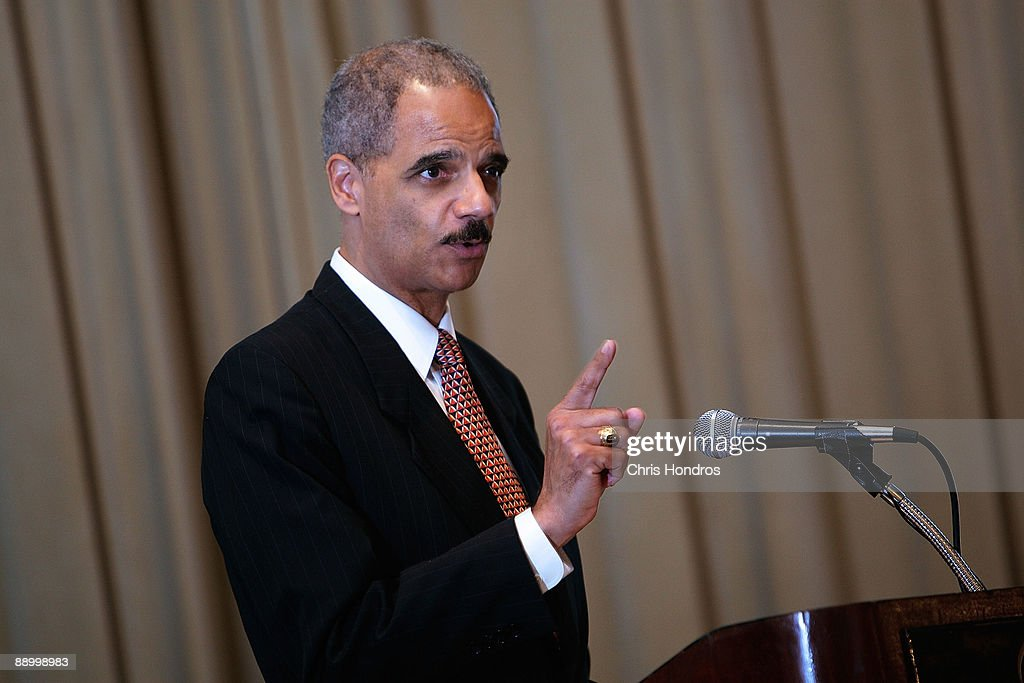 U.S. Attorney General Eric Holder gives the keynote address at the Clarence M. Mitchell Jr. Memorial Lecture Luncheon at the NAACP Centennial Convention July 13, 2009 in New York City. Holder addressed a group of prominent black lawyers during the luncheon, part of the National Association for the Advancement of Colored People's 100th anniversary convention.