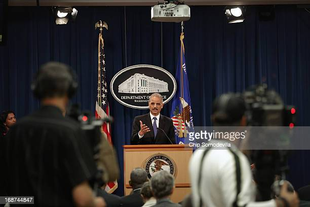 S Attorney General Eric Holder holds a news conference about efforts by the Justice Department and the Health and Human Services Department to combat...