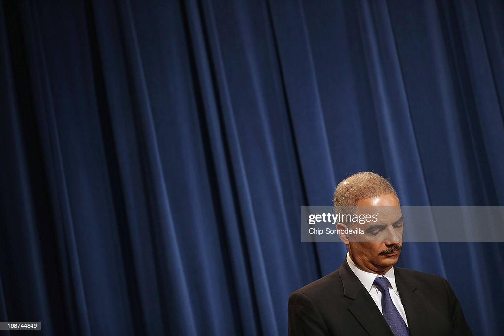Attorney General Holder Holds Press Conference At Justice Dep't