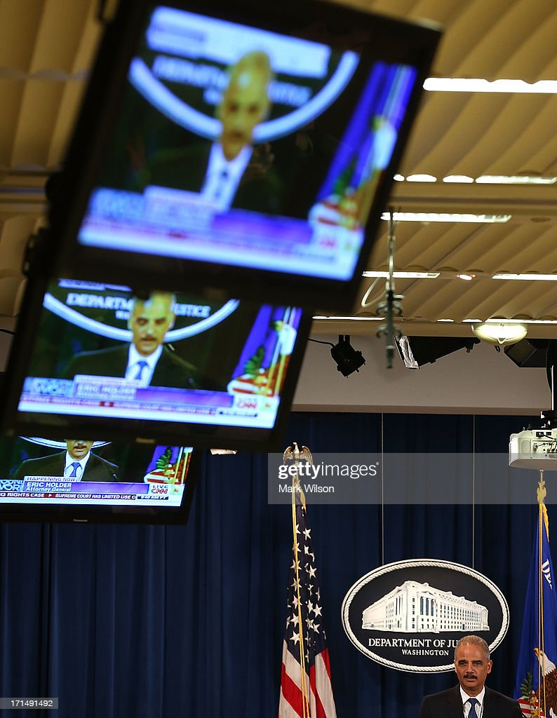 Attorney Gen. Eric Holder Delivers Statement On Supreme Court Voting Rights Act : News Photo