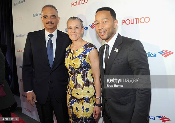 US Attorney General Eric Holder Sharon Malone and John Legend attend An Evening With John Legend hosted by POLITICO to kickoff White House...