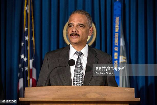 S Attorney General Eric Holder speaks at a press conference at the US Attorney's Office for the Souther District of New York on April 1 2014 in New...
