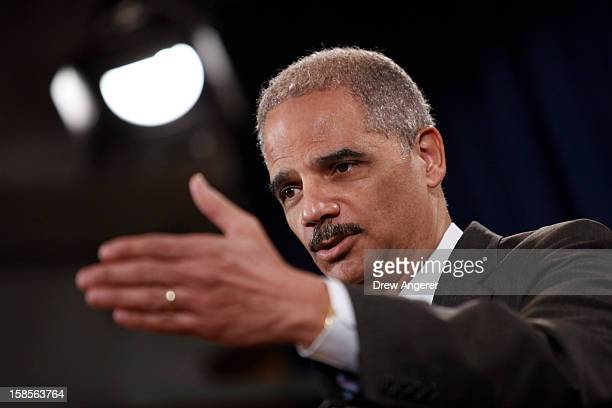 S Attorney General Eric Holder speaks during a news conference at the Justice Department on December 19 2012 in Washington DC Holder announced...