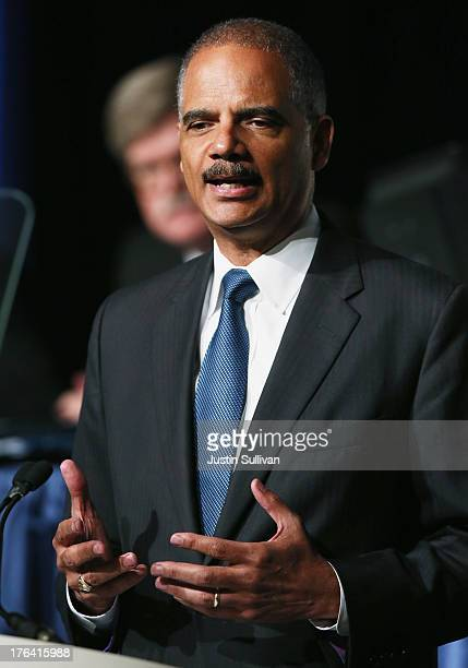 S Attorney General Eric Holder speaks during the 2013 America Bar Association annual meeting on August 12 2013 in San Francisco California Holder is...