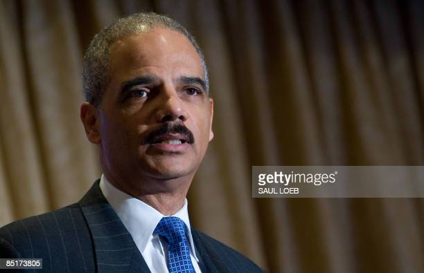 US Attorney General Eric Holder speaks during the Jewish Council for Public Affairs annual plenum New Faces New Challenges Jewish Activism During...