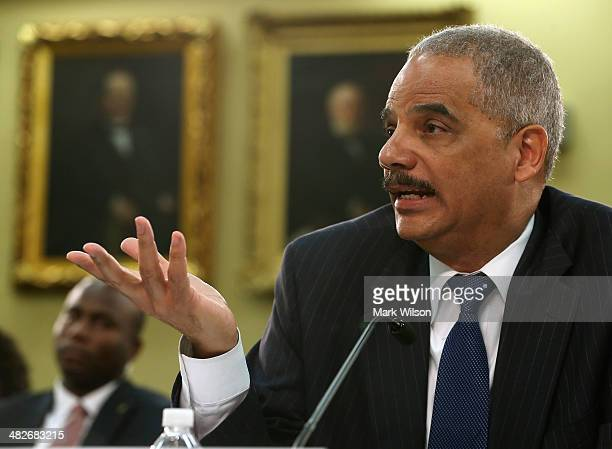 Attorney General Eric Holder testifies during a House Appropriations Committee hearing on Capitol Hill on April 4 2014 in Washington DC The committee...