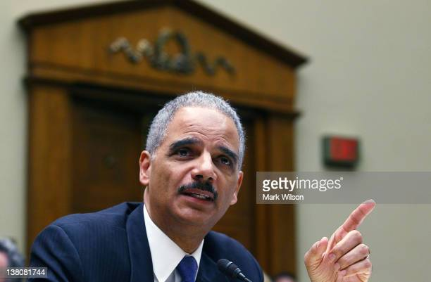 S Attorney General Eric Holder testifies during a House Oversight and Government Reform Committee hearing February 2 2012 in Washington The committee...
