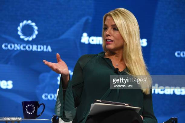 Attorney General for the State of Florida Hon Pam Bondi speaks onstage during the 2018 Concordia Annual Summit Day 2 at Grand Hyatt New York on...