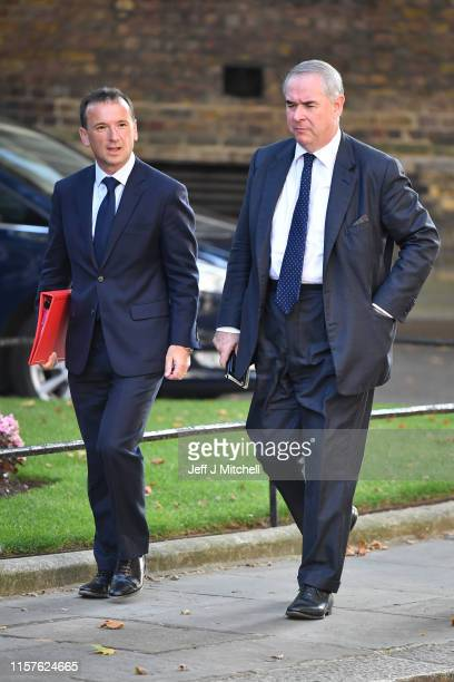 Attorney General Geoffrey Cox and Wales Secretary Alun Cairns arrive at 10 Downing Street on July 25 2019 in London England Britain's New Prime...