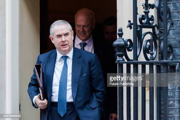 Attorney General Geoffrey Cox leaves after a Cabinet meeting at 10 Downing Street in central London October 09 2018 in London England