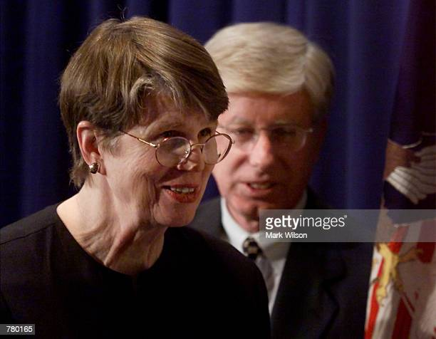 Attorney General Janet Reno smiles as she leaves a press briefing on the Microsoft antitrust ruling at the US Justice Department in Washington DC...
