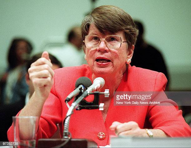 Attorney General Janet Reno testifies before the house panel investigating the 1993 standoff between federal agents and members of the Branch...