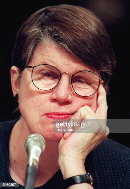 Attorney General Janet Reno testifies before the US Senate Governmental Affairs Committee 17 March 1999 on Capitol Hill in Washington DC The...