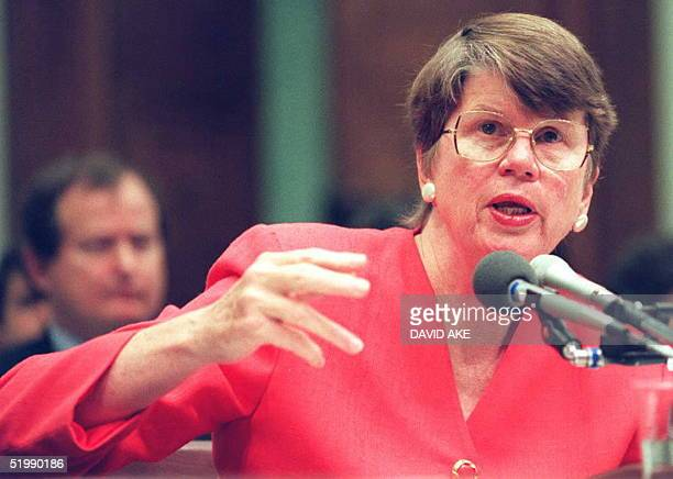 Attorney General Janet Reno testifies to a House subcommittee on Capitol Hill in Washington about the 1993 raid on the Branch Davidian compound near...