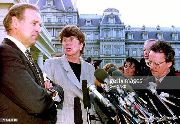 S Attorney General Janet Reno turns to answer a question from a reporter as she and Sen Joseph Biden DDel leave the White House after meeting with US...
