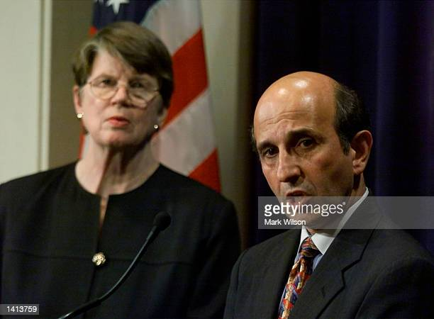 Attorney General Janet Reno with assistant Attorney General Joel Klein remark on the Microsoft antitrust ruling April 3 2000 US District Judge Thomas...