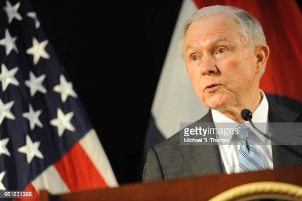 Attorney General Jeff Sessions addresses law enforcement members at the Thomas Eagleton US Courthouse on March 31 2017 in St Louis Missouri Attorney...