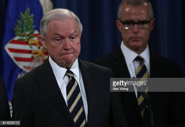 S Attorney General Jeff Sessions and Acting FBI Director Andrew McCabe during a news conference to announce significant law enforcement actions July...