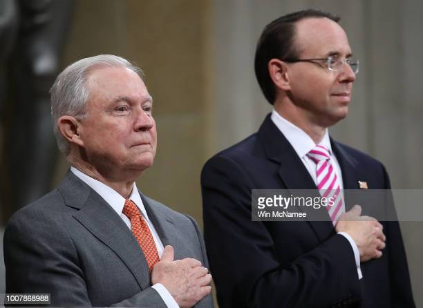 S Attorney General Jeff Sessions and Deputy Attorney General Rod Rosenstein attend the Religious Liberty Summit at the Department of Justice July 30...