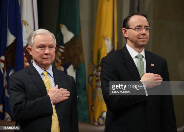 Attorney General Jeff Sessions and Deputy US Attorney General Rod Rosenstein participate summit to discuss efforts to combat human trafficking at the...