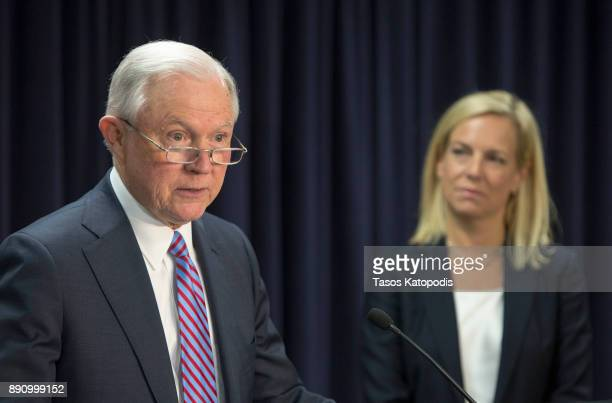 Attorney General Jeff Sessions and Homeland Security Secretary Kristjen Nielsen hold a news conference on immigration and efforts to contain violent...