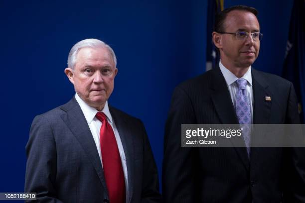 S Attorney General Jeff Sessions and US Deputy Attorney General Rod Rosenstein are pictured during a news conference on efforts to reduce...