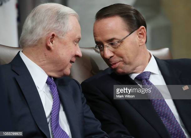 Attorney General Jeff Sessions and US Deputy Attorney General Rod Rosenstein participate in the first National Opioid Summit at the Justice...