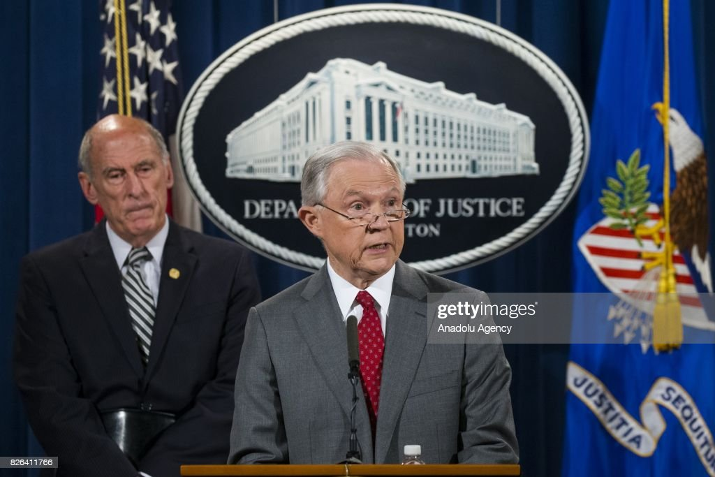 Attorney General Jeff Sessions announces that the National Insider Threat Task Force will be increasing its efforts to combat the leaking of classified material threatening national security in Washington, USA on August 4, 2017.