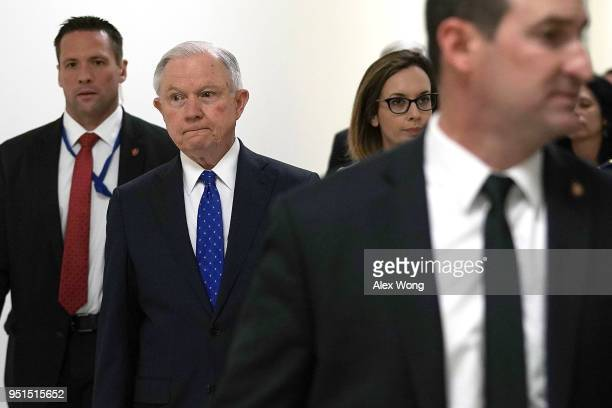 S Attorney General Jeff Sessions arrives at Rayburn House Office Building to testify at a hearing before the Commerce Justice Science and Related...