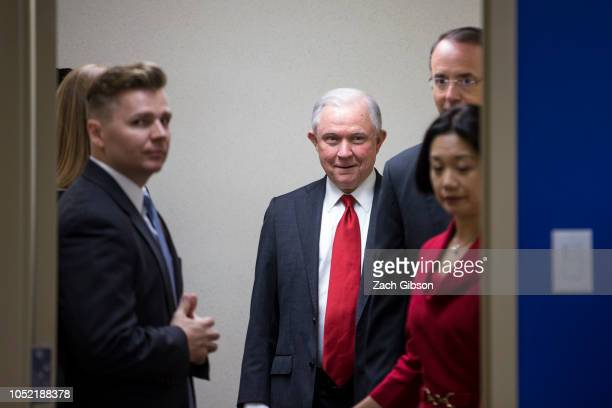 S Attorney General Jeff Sessions arrives before speaking during a news conference on efforts to reduce transnational crime at the US Attorney's...
