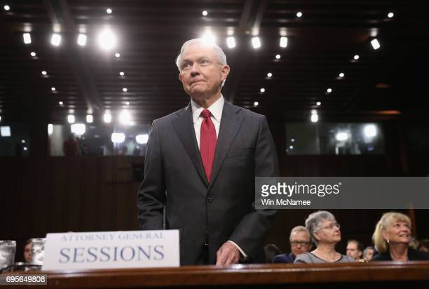 Attorney General Jeff Sessions arrives before the Senate Intelligence Committee on June 13 2017 in Washington DC The nation's chief law enforcement...