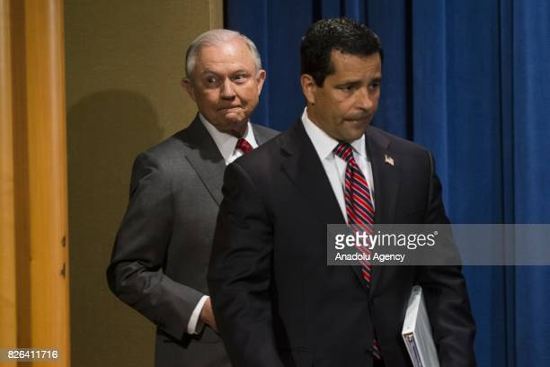 Attorney General Jeff Sessions arrives to announce that the National Insider Threat Task Force will be increasing its efforts to combat the leaking...