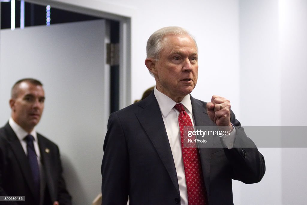 US AG Jeff Sessions Sanctuary Cities Speech : News Photo