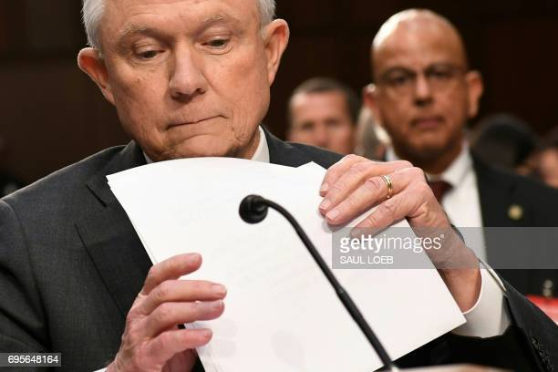 Attorney General Jeff Sessions arrives to testify during a US Senate Select Committee on Intelligence hearing on Capitol Hill in Washington DC June...