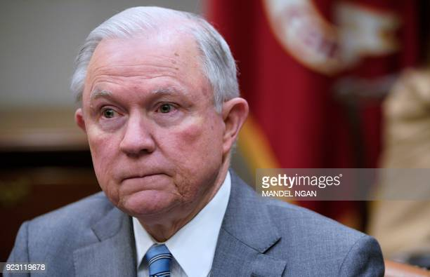 US Attorney General Jeff Sessions attends a meeting with US President Donald Trump with state and local officials on school safety in the Roosevelt...