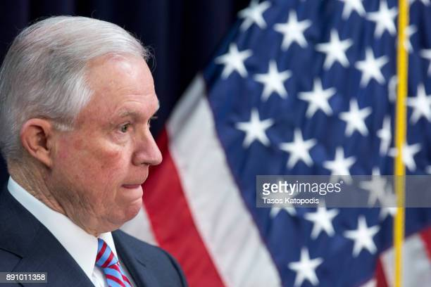 Attorney General Jeff Sessions attends a news conference on immigration and efforts to contain violent gangs like MS13 that have spread from Latin...