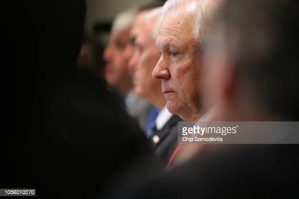 US Attorney General Jeff Sessions attends a Trump Administration cabinet meeting in the Cabinet Room at the White House October 17 2018 in Washington...